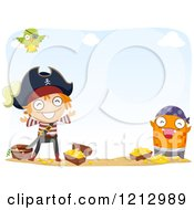 Clipart Of A Pirate Monster And Boy With Treasure On A Beach Royalty Free Vector Illustration by BNP Design Studio
