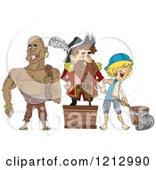 Clipart Of A Pirate Captain And Crew Royalty Free Vector Illustration