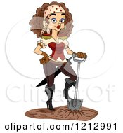 Clipart Of A Female Pirate Resting Her Foot On A Shovel Royalty Free Vector Illustration