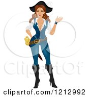 Clipart Of A Waving Female Pirate Hiding Something Behind Her Back Royalty Free Vector Illustration