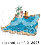 Clipart Of A Boy On A Treasure Map Royalty Free Vector Illustration by BNP Design Studio