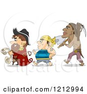 Clipart Of A Pirate Captain And Crew Treasure Hunting Royalty Free Vector Illustration
