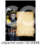 Clipart Of A Skeleton Pirate With A Blank Scroll On Black Royalty Free Vector Illustration