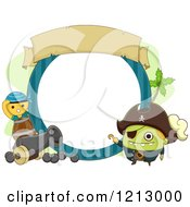 Clipart Of A Monster Pirate Frame With A Cannon Royalty Free Vector Illustration by BNP Design Studio
