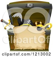Clipart Of A Parchment Scroll Over A Treasure Chest With Pirate Items Royalty Free Vector Illustration