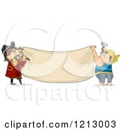 Clipart Of Two Male Pirates Hanging A Blank Banner Royalty Free Vector Illustration