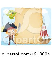 Clipart Of A Parchment Sign With A Ship Pirate And Parrot Royalty Free Vector Illustration