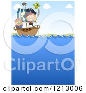 Clipart Of Little Pirates Sailling A Ship Royalty Free Vector Illustration