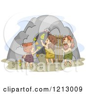 Clipart Of A Caveman Family Decorating Their Dwelling Entrance Royalty Free Vector Illustration