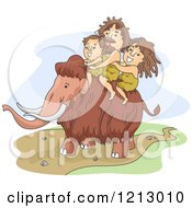 Clipart Of A Caveman Family Riding A Mammoth Royalty Free Vector Illustration