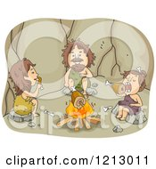 Clipart Of A Caveman Family Eating Meat Around A Fire Royalty Free Vector Illustration