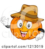 Clipart Of A Happy Pumpkin Wearing A Straw Hat And Waving Royalty Free Vector Illustration