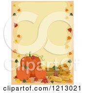 Clipart Of A Border Of Autumn Leaves Pumpkins And Wheat Royalty Free Vector Illustration