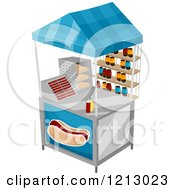 Clipart Of A Hot Dog Food Vendor Cart Royalty Free Vector Illustration
