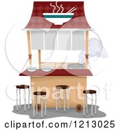 Clipart Of A Ramen Noodle Food Cart Royalty Free Vector Illustration