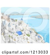 Clipart Of Coastal Buildings In Santorini Greece Royalty Free Vector Illustration