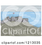 Clipart Of The Castle Of Saladin In Egypt Royalty Free Vector Illustration