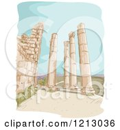 Clipart Of Jerash Pillar Ruins In Jordan Royalty Free Vector Illustration