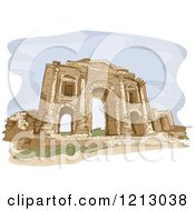 Clipart Of A Gate In The City Of Jerash In Jordan Royalty Free Vector Illustration
