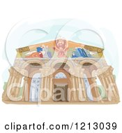 Clipart Of The Church Of All Nations Israel Royalty Free Vector Illustration
