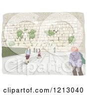 Clipart Of Tourists A The Wailing Wall In Israel Royalty Free Vector Illustration