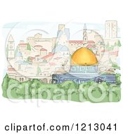 Clipart Of A View Of The Dome Of The Rock In Jerusalem Royalty Free Vector Illustration