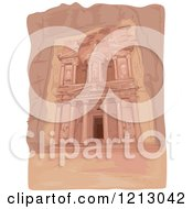 Clipart Of The Facade Of The Al Khazneh Temple In Petra Jordan Royalty Free Vector Illustration