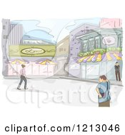 Clipart Of A Coffee Shop And Pedestrians Royalty Free Vector Illustration