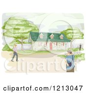 Clipart Of Pedestrians Walking Near A Bungalow Royalty Free Vector Illustration