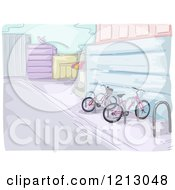 Clipart Of A Bike Rack In A Parkling Lot Royalty Free Vector Illustration