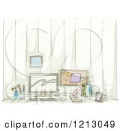 Clipart Of A Home Based Office Desk Royalty Free Vector Illustration by BNP Design Studio