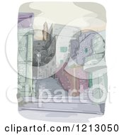 Clipart Of A Densly Populated City Royalty Free Vector Illustration