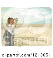 Clipart Of An Arabian Man And Camel Walking In A Desert Royalty Free Vector Illustration by BNP Design Studio