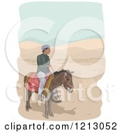 Clipart Of A Man Riding A Donkey In A Desert Royalty Free Vector Illustration by BNP Design Studio