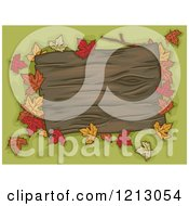 Clipart Of A Blank Wooden Sign With Autumn Leaves Over Green Royalty Free Vector Illustration