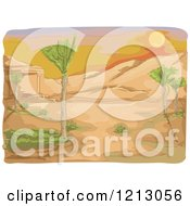 Clipart Of A Sunset Over A Desert Royalty Free Vector Illustration by BNP Design Studio