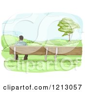 Clipart Of A Lone Man Sitting On A Bench With A View Royalty Free Vector Illustration