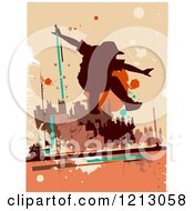 Silhouetted Parkour Practitioner Over Grunge And Orange
