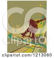 Silhouetted Skateboarder Over Grunge And Green