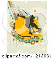 Silhouetted Skateboarder Over Grunge