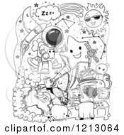 Clipart Of Black And White Space Doodles Royalty Free Vector Illustration