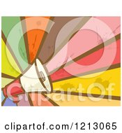 Clipart Of A Megaphone Bullorn Over Grungy Rays Royalty Free Vector Illustration