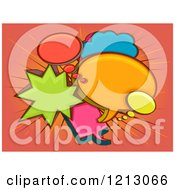 Clipart Of Colorful Speech And Thought Bubbles Over Rays Royalty Free Vector Illustration by BNP Design Studio