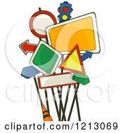Clipart Of A Cluster Of Road Signs Royalty Free Vector Illustration
