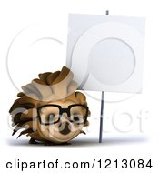 Clipart Of A 3d Happy Hedgehog Wearing Glasses Under A Sign Royalty Free CGI Illustration by Julos