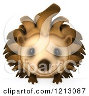 Clipart Of A 3d Happy Hedgehog Smiling Over A Sign Royalty Free CGI Illustration by Julos
