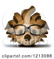 Clipart Of A 3d Happy Hedgehog Wearing Glasses And Smiling Royalty Free CGI Illustration by Julos