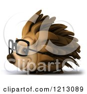 Clipart Of A 3d Happy Hedgehog Wearing Glasses Smiling And Facing Left Royalty Free CGI Illustration by Julos