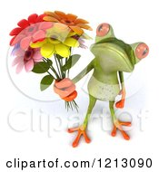 Clipart Of A 3d Springer Frog Holding A Bouquet Of Flowers Royalty Free CGI Illustration