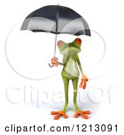 Clipart Of A 3d Springer Frog Sheltered Under An Umbrella Royalty Free CGI Illustration